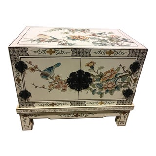 1960s Vintage Asian Floral Print Cabinet For Sale