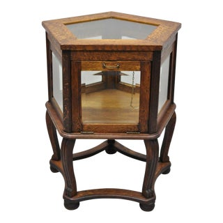 Antique Mission Oak Wood and Glass Mission Display Cabinet Curio For Sale