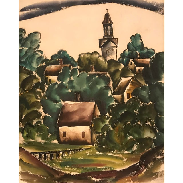 """""""Georgia Townscape"""" Watercolor Painting For Sale - Image 4 of 4"""