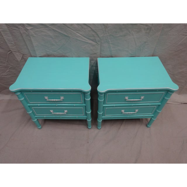 Vintage Bamboo Night Stands - Image 3 of 7