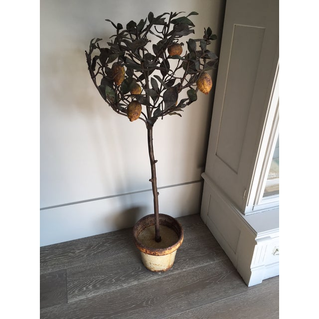 Early 20th Century Antique Italian Lemon Tole Topiary Tree For Sale - Image 5 of 5