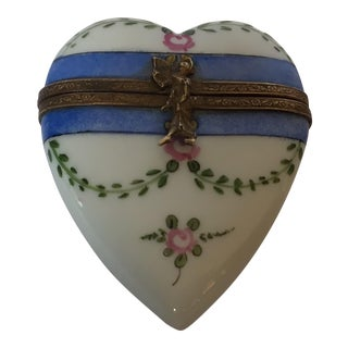 1960s Limoges France Hand Painted Porcelain Heart-Shaped Hinged Decorative Collectible Box + Free Shipping in February! For Sale