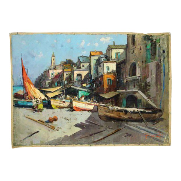 Canvas Marina Village View Oil Painting - Image 1 of 7