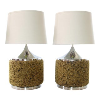 Mid-Century Cork & Chrome Lamps - A Pair