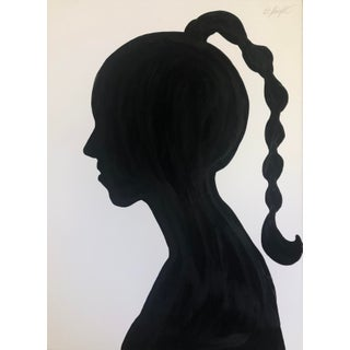 """""""Silhouette With Braid"""" Original Painting on Paper Signed by Artist For Sale"""