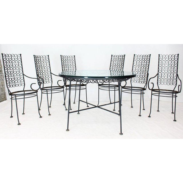 Outdoor Set of Six Armchairs With Glass Top Table, Salterini Attributed For Sale - Image 10 of 10