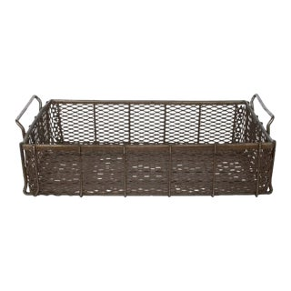 Early 20th C. Vintage Industrial Metal Mesh Basket For Sale