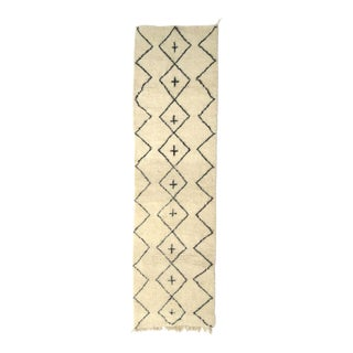 Moroccan Beni Ourain Wool Runner - 3′ × 10′8″ For Sale