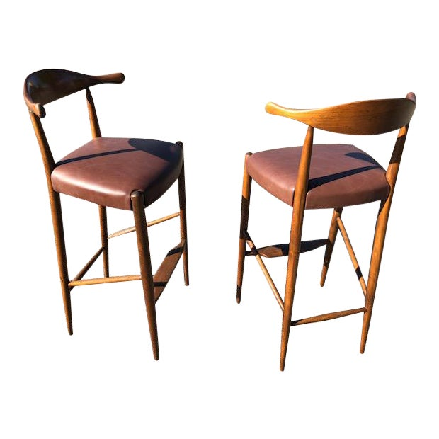 """Hans Wegner Style """" Horn"""" Barstools - Image 1 of 4"""