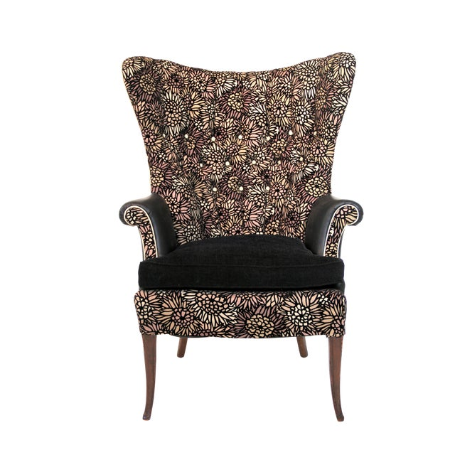 Swell 1950S Vintage Black Leather Wingback Accent Chair Bralicious Painted Fabric Chair Ideas Braliciousco