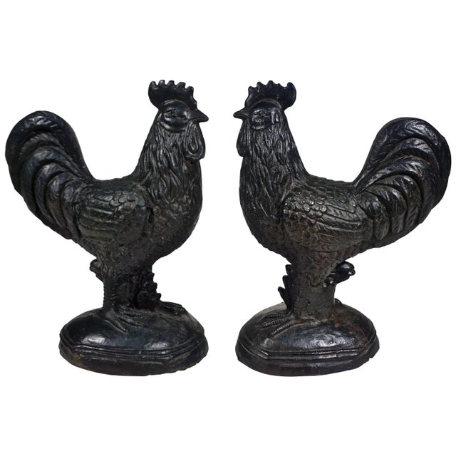 1890s Antique French Folk Art Black Cast Iron Sculpture Rooster For Sale - Image 11 of 12