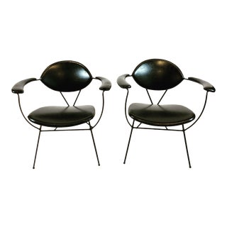 Joseph Cicchelli Wrought Iron Reilly-Wolff California Modern Lounge Chairs- A Pair For Sale