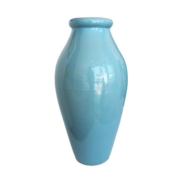 1950s Vintage Robin's Egg Blue Tall Vase by Roseville Pottery For Sale - Image 5 of 5