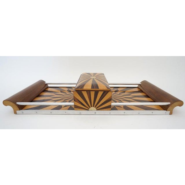 Metal Art Deco 1920s Paul Giordano Paris Serving Tray Exotic Wood Parquet For Sale - Image 7 of 12