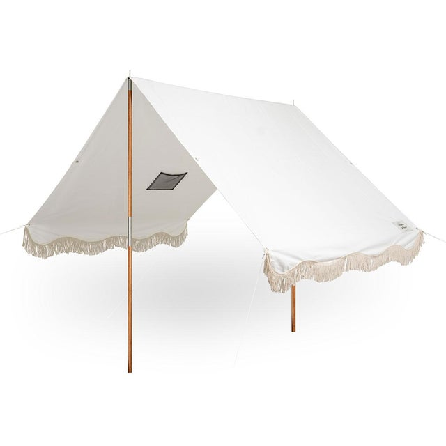 Business & Pleasure Premium Beach Tent - Antique White with Fringe For Sale - Image 4 of 4