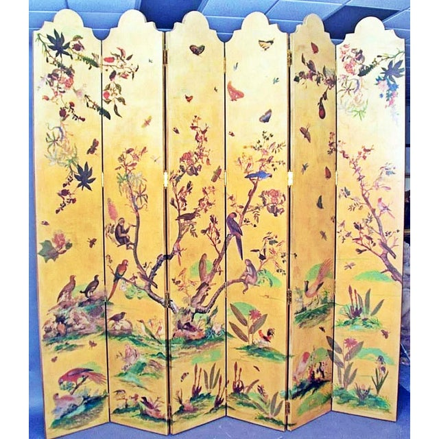 Yellow 1950s Vintage Birds Foliage Six Pannel Screen For Sale - Image 8 of 8