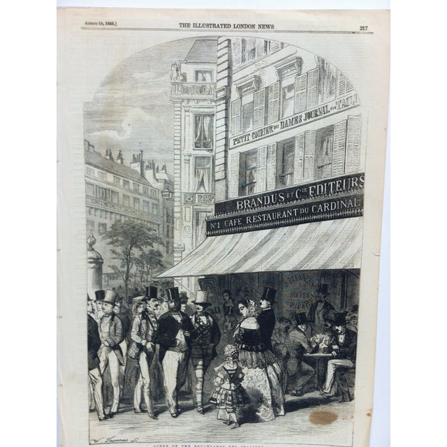 "This is an Antique The Illustrated London News Print that is titled ""Scene on the Boulevard Des Italiens"". The Print is..."