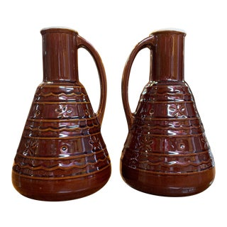 Mid-Century Modern Mar-Crest Dot Daisy Stoneware Carafe Coffee Decanter Servers - a Pair For Sale