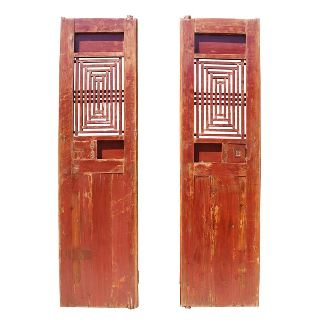 Chinese Vintage Dimensional Scroll Carving Wood Door Panels - A Pair For Sale - Image 5 of 6