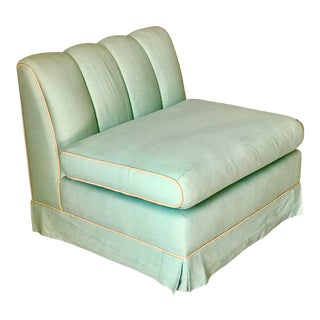 Mint Green Skirted Slipper Chair With Channel Back For Sale