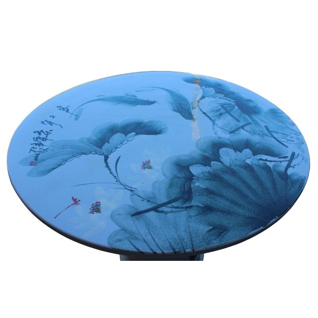 Chinese White Porcelain Green Lotus Fish Motif Round Table For Sale In San Francisco - Image 6 of 7
