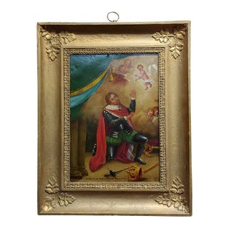 19th Century Portrait of S. Edward King of England Oil Painting on Copper by Gonzalez For Sale