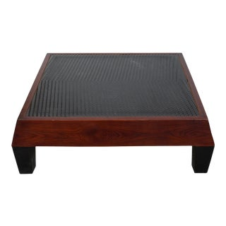 Brown Contemporary Black Geometric Pattern Square Straight Legs Coffee Table For Sale