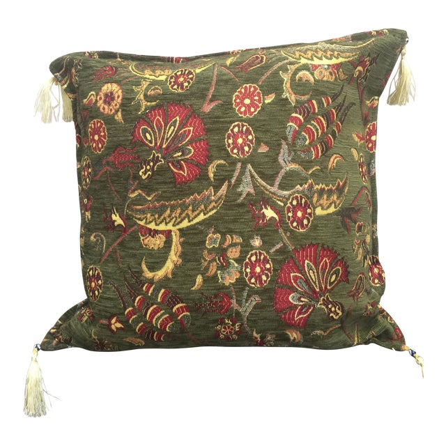 Boho Chic Green Kilim Pillow Cover For Sale In Chicago - Image 6 of 6