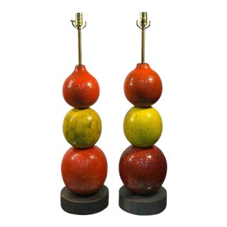 Pair of Rare and Unusual Italian Ceramic Ball Lamps by Bitossi Modern For Sale