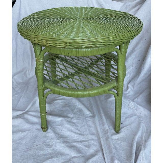 Wicker Vintage Avocado Green Wicker Side Table For Sale - Image 7 of 8