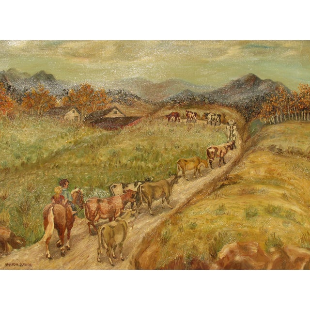 Prairie Homestead Cattle Painting by Amanda Krook - Image 3 of 4
