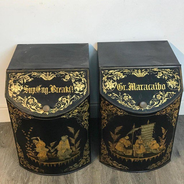 Metal Pair of Antique Chinoiserie Tole Floor Model Tea Canisters by Henry Thoemner For Sale - Image 7 of 13