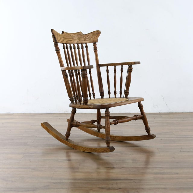 Traditional Antique Spindle Back Oak Rocking Chair For Sale - Image 3 of 8