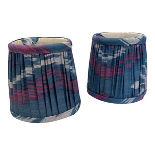 Custom Lamp Shades in Blue Ikat - Pair For Sale
