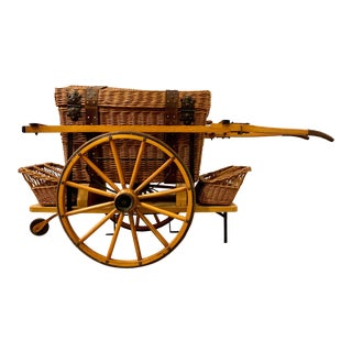 Vintage Wicker Picnic Basket and Cart For Sale