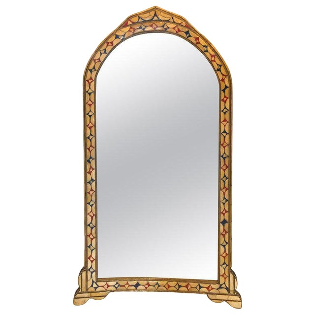 Moroccan White/Red and Blue Colored Bone Over Brass Frame Floor/Wall Mirror For Sale