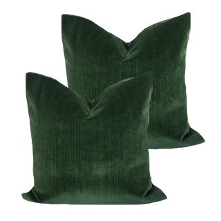 """22"""" Hunter Green Strie Velvet Down Pillows - a Pair"""
