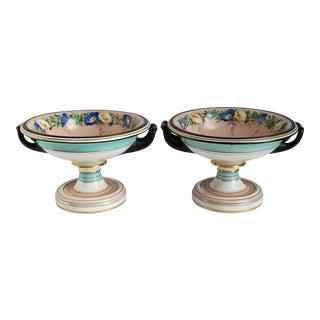 Antique Kpm Porcelain Hand Painted Compote Dish-A Pair For Sale
