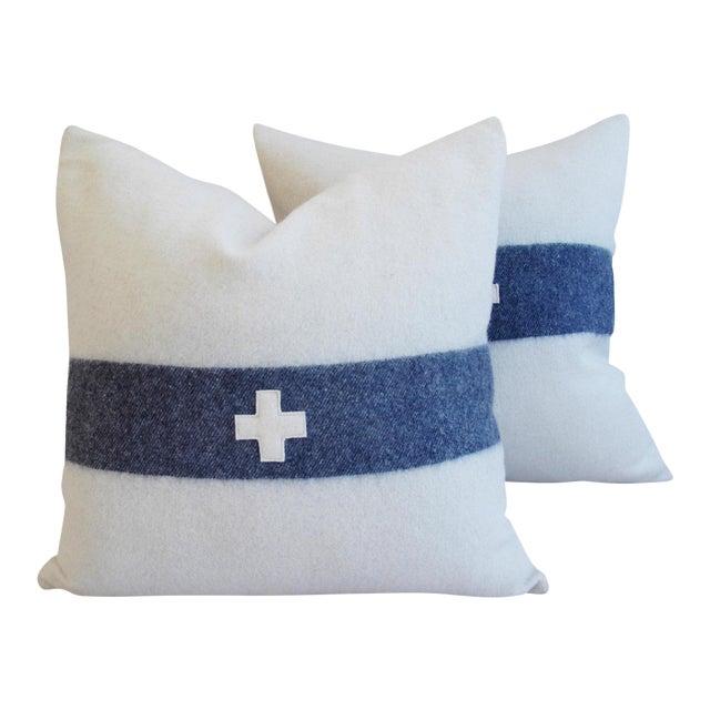 Nautical White & Blue Stripe Wool & Linen Pillows - a Pair - Image 1 of 10