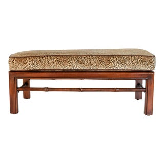 Low Faux Bamboo Leopard Print Bench For Sale