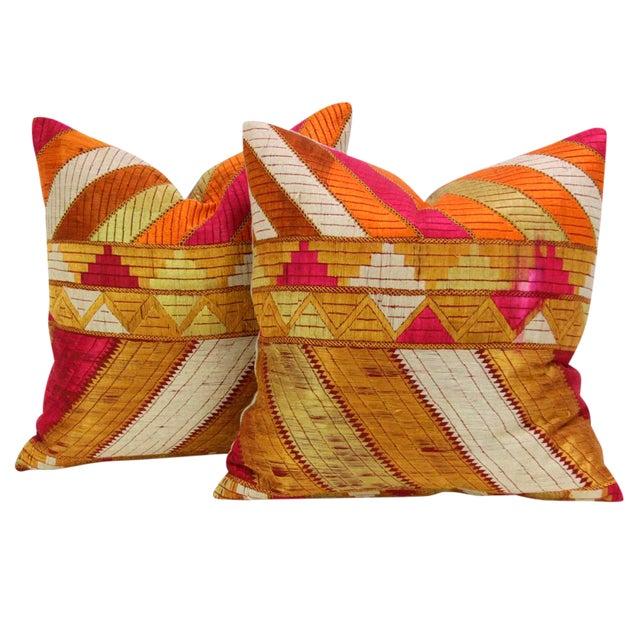 Mehreen Phulkari Pillow, Pair - Image 1 of 5