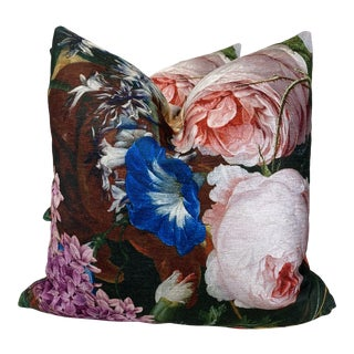 "Bold Floral Velvet 22"" Pillows-A Pair For Sale"