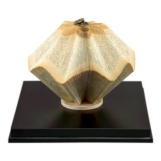 Vintage Folded Book Sculpture in Custom Display Box For Sale