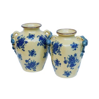 Baum Bros Ceramic Vases in Yellow & Blue, a Pair Preview
