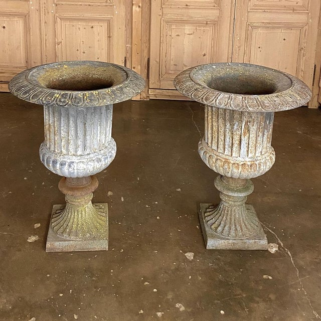 Metal Pair Large 19th Century Cast Iron Jardinieres ~ Garden Vases For Sale - Image 7 of 12