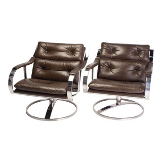 1970s Vintage Brown Leather and Chrome 70s Gardner Leaver for Steelcase Swivel Chairs- A Pair For Sale
