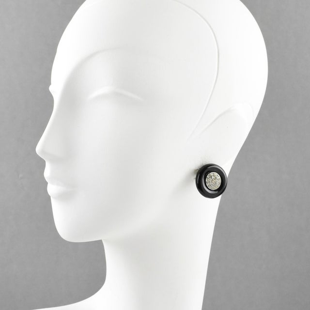 Rare Angela Caputi, made in Italy resin stud earrings for pierced ears. Featuring rounded dimensional shape in black resin...