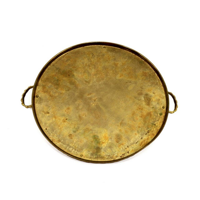 VIntage 1920s Brass Bamboo Serving Tray - Image 5 of 5