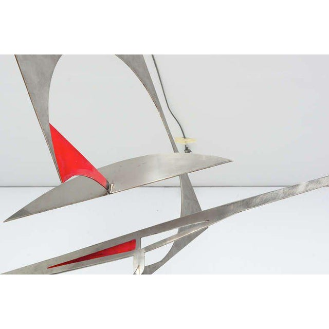 Red Stainless Steel Hanging Mobile Sculpture For Sale - Image 8 of 10