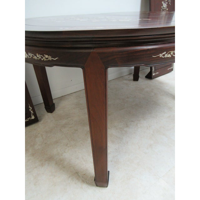 Vintage Rosewood Chinese Chippendale Mother of Pearl Dining Room Banquet Table For Sale - Image 10 of 11